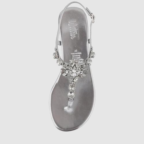 Sparkling Silver Leather Embellished Flat Sandal.
