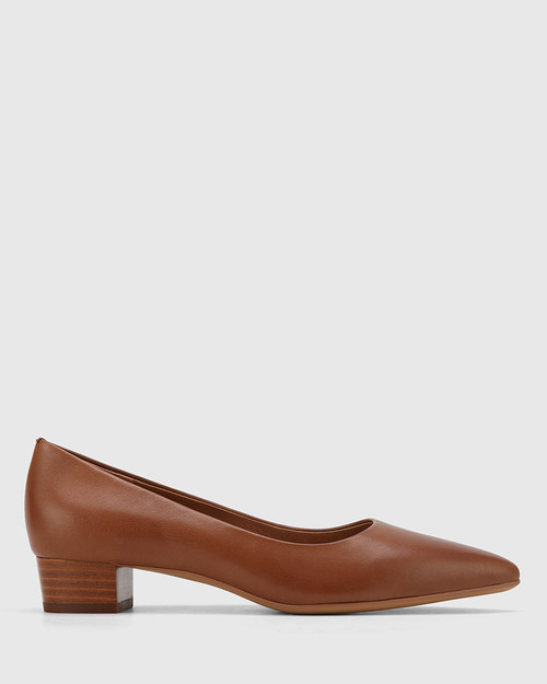 Armin Cognac Leather Pointed Toe Low Block Heel.
