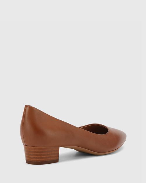 Armin Cognac Leather Pointed Toe Low Block Heel.