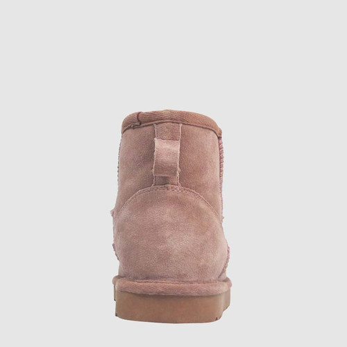 Cosy Mauve Suede Shearling Lined Ankle Boot Slipper.