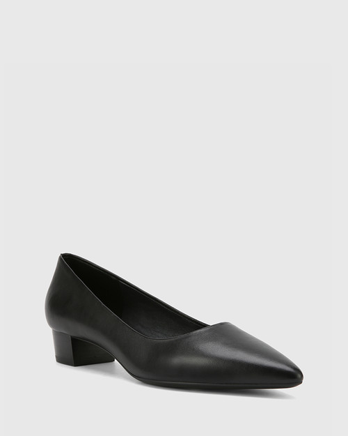 Armin Black Leather Pointed Toe Low Block Heel.