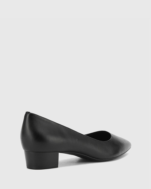 Armin Black Leather Pointed Toe Low Block Heel. & Wittner & Wittner Shoes