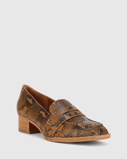Fentis Camel Snake Print Leather Block Heel Square Toe. & Wittner & Wittner Shoes