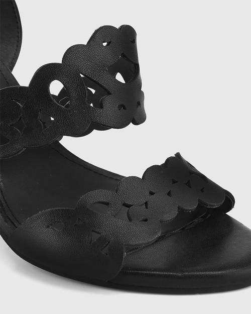 Reanna Black Leather Perforated Block Heeled Sandal. & Wittner & Wittner Shoes