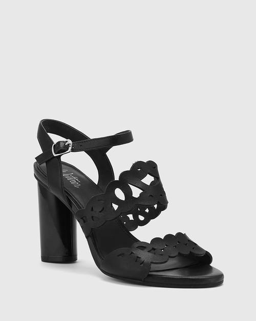 Reanna Black Leather Perforated Block Heeled Sandal.