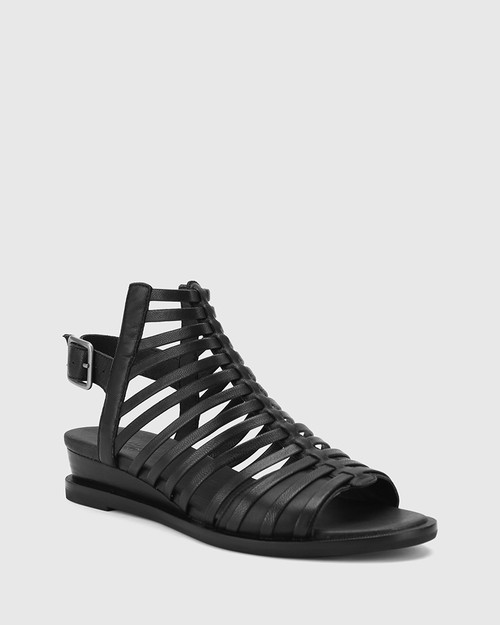 Colt Black Leather Open Toe Low Wedge Sandal.