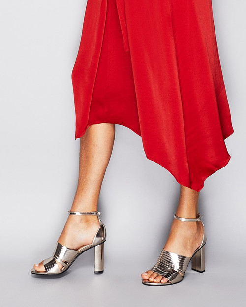 Rizzo Rose Gold Leather Open Toe Heel. & Wittner & Wittner Shoes