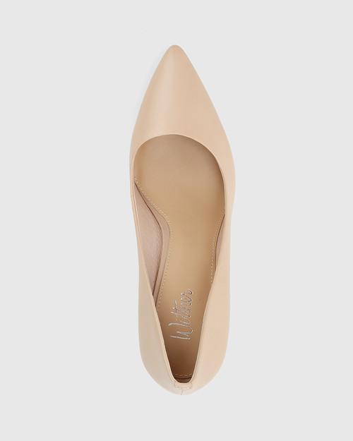Hether Ecru Nappa Leather Pointed Toe Block Heel. & Wittner & Wittner Shoes