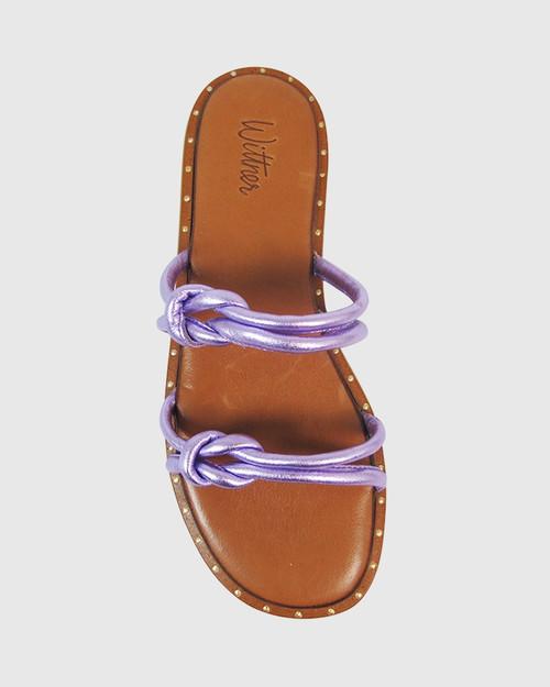 Kendrick Metallic Lilac Leather Flat Slide.