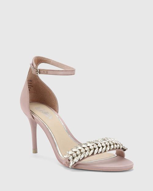 Indriana Mauve Satin Embellished Open Toe Stiletto Heel.