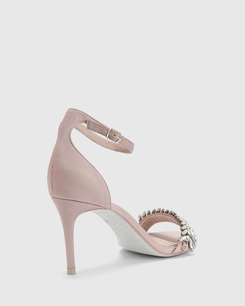 Indriana Mauve Satin Embellished Open Toe Stiletto Heel. & Wittner & Wittner Shoes