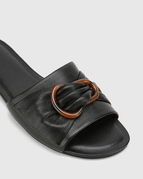 Cate Black Leather Open Toed Flat Sandal. & Wittner & Wittner Shoes