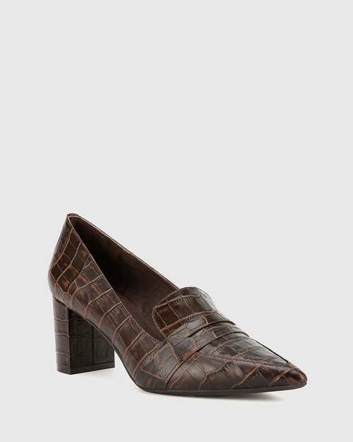 Donner Chocolate Crocodile Print Leather Block Heel Pointed Pump.