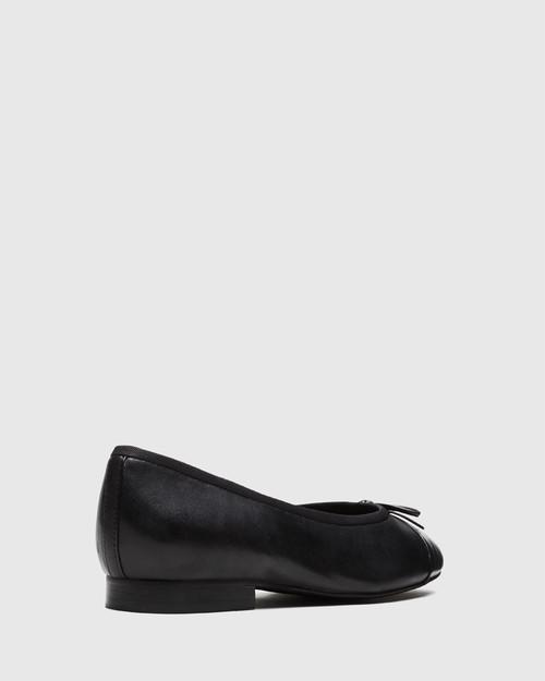 Annie Black Leather Toe Cap Detail Ballet Flat. & Wittner & Wittner Shoes