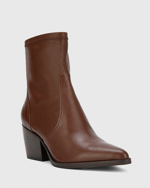 Kennith Dark Brown Leather Stretch Point Toe Block Heel Ankle Boot