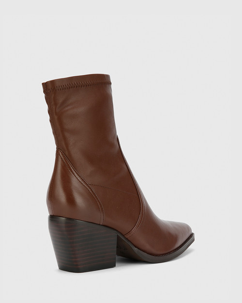 Kennith Dark Brown Leather Stretch Point Toe Block Heel Ankle Boot .