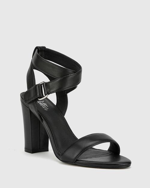 Ralexx 2 Black Leather Block Heel Sandal. & Wittner & Wittner Shoes