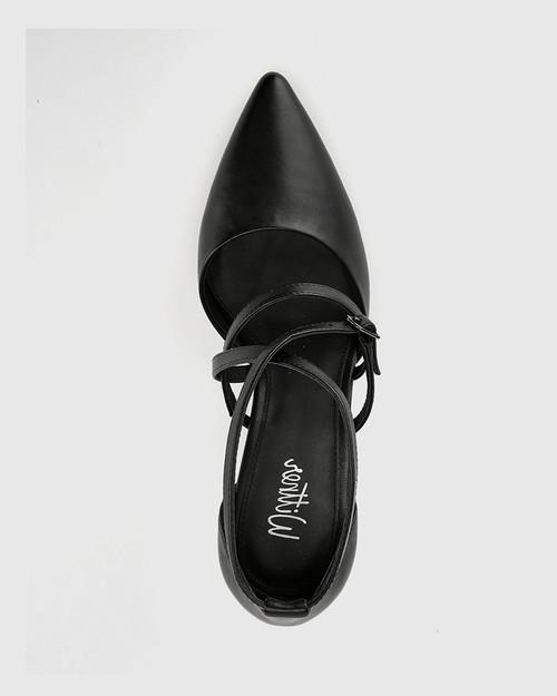Hanisha Black Leather Pointed Toe Stiletto Heel