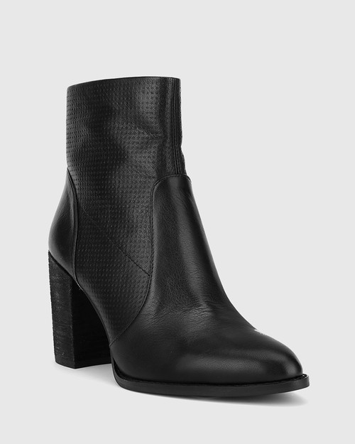 Halstead Black Scotch Leather Block Heel Ankle Boot