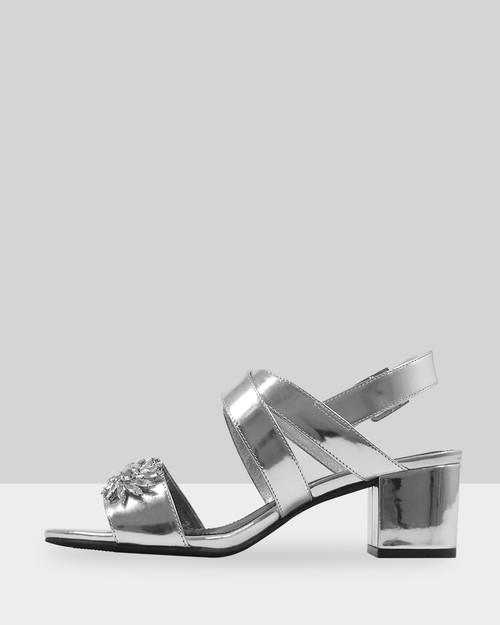 Austine Silver Leather Diamonte Detail Block Heel Sandal.