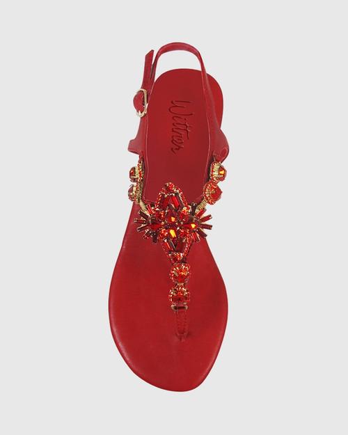 Sparkling Red Leather Jewel Detail Flat Sandal. & Wittner & Wittner Shoes