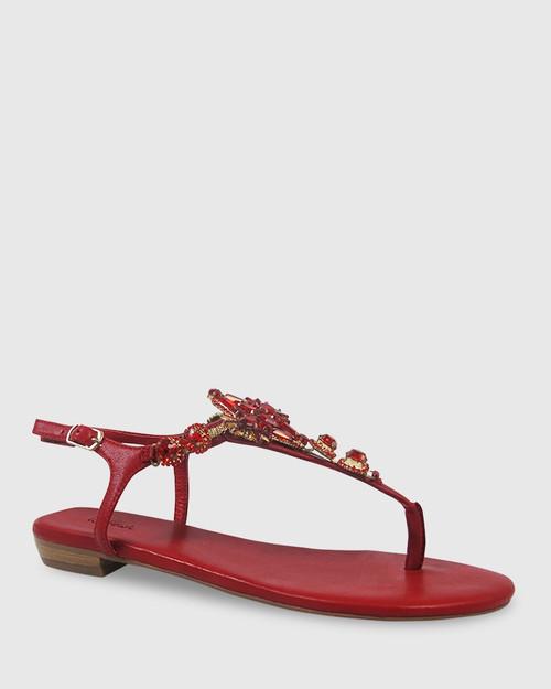 Sparkling Red Leather Jewel Detail Flat Sandal.