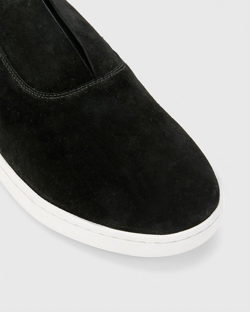 George Black Suede Leather Slip On Sneaker