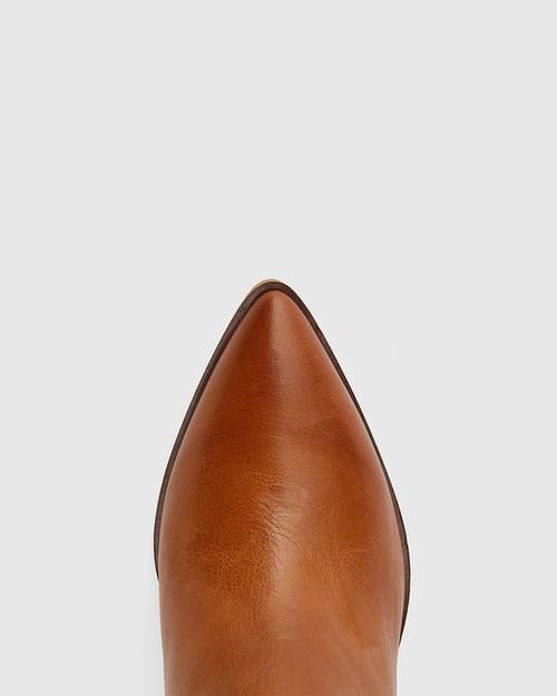 Pearce Cognac Leather Block Heel Ankle Boot.