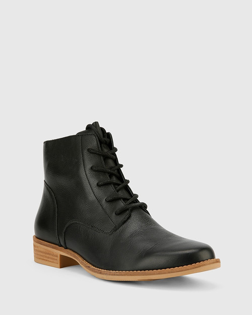 Carver Black Leather Lace Up Flat Ankle Boot