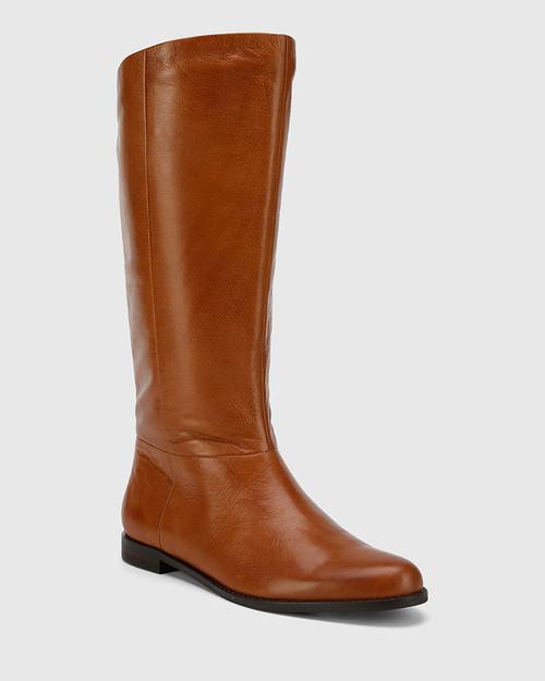 Bindigo Dark Cognac Leather Pull On Long Boot. & Wittner & Wittner Shoes