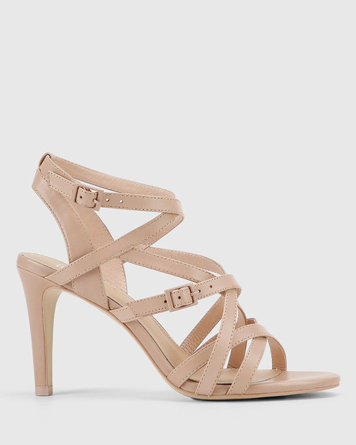 Remo New Flesh Leather Strappy Stiletto Heel Sandal.