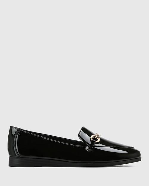 Crimson Black Patent Leather Gold Trim Loafer & Wittner & Wittner Shoes