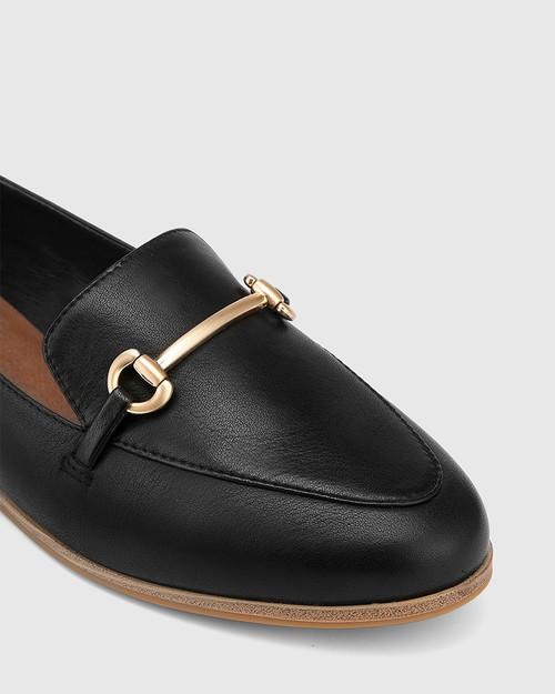Crimson Black Leather Gold Trim Loafer. & Wittner & Wittner Shoes