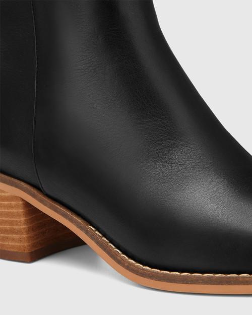 Joslyn Black Leather Block Heel Long Boot