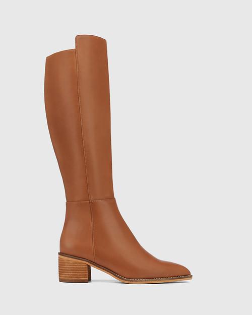 Joslyn Cognac Leather Block Heel Long Boot