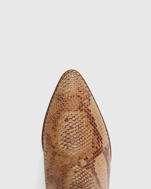 Joslyn Camel Snake Print Leather Block Heel Long Boot
