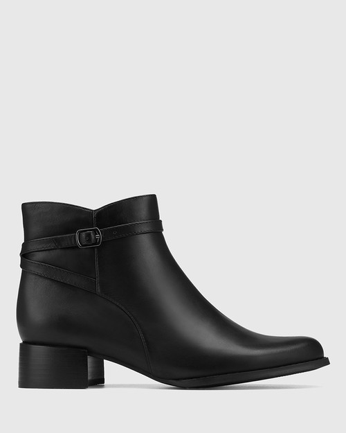 Bayley Black Leather Ankle Boot