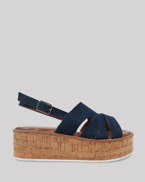 Kimmel Navy Suede Open Toe Cork Platform Sandal.