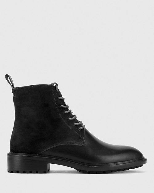 Dean Black Suede Leather Lace Up Flat Boot. & Wittner & Wittner Shoes