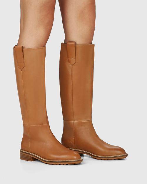 Dericka Tan Leather Long Boot & Wittner & Wittner Shoes