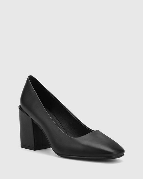 Sutton Black Leather Block Heel Pump.