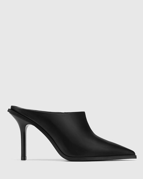 Hoylia Black Leather Mule