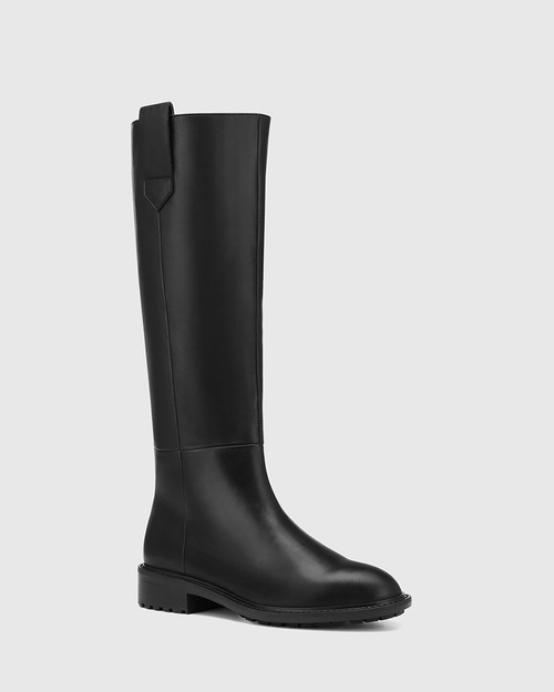 Dericka Black Leather Long Boot