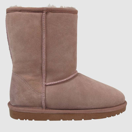 Cosy Mauve Suede Shearling Lined Boot Slipper.