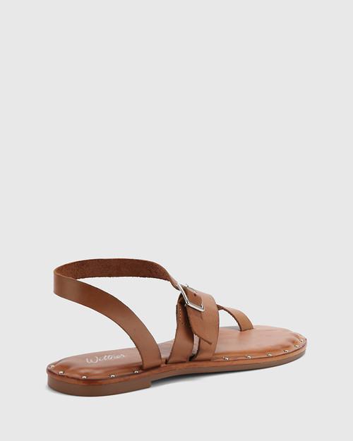 Fisher Tan Leather Strap Flat Sandal. & Wittner & Wittner Shoes