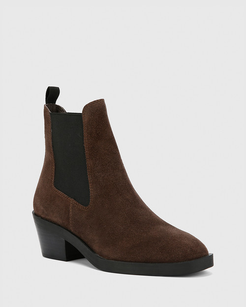 Isaac Grey Suede Leather Pull On Ankle Boot .