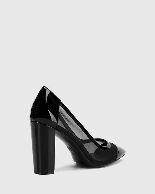 Halyn Black Patent Mesh Cut Out Pointed Toe Block Heel . & Wittner & Wittner Shoes