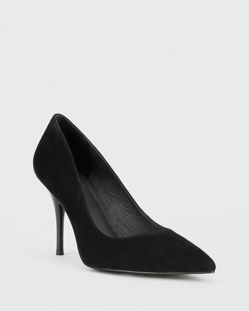 Hughes Black Suede Pointed Toe Stiletto Heel.