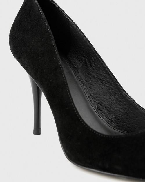Hughes Black Suede Pointed Toe Stiletto Heel. & Wittner & Wittner Shoes