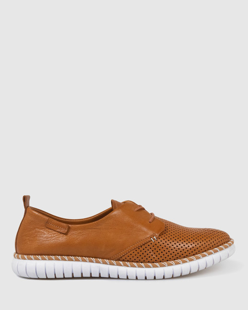 Bryleigh Tan Leather Lace Up Sneakers. & Wittner & Wittner Shoes